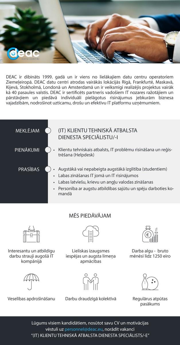 (IT) KLIENTU TEHNISKĀ ATBALSTA DIENESTA SPECIĀLISTS/-E