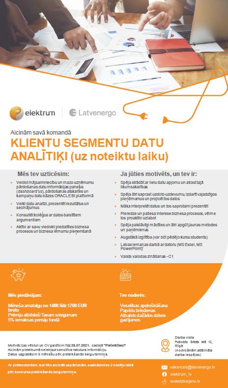 Klientu segmentu datu analītiķis/-e (uz noteiktu laiku)